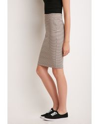 Forever 21 - Brown Stripe Pencil Skirt You've Been Added To The Waitlist - Lyst