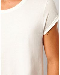 ASOS White T-Shirt With Scoop Neck And Roll Sleeve for men