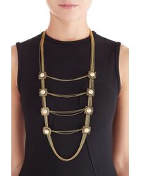 Alexander McQueen | Metallic Pearl And Crystal Embellished Necklace - Gold | Lyst