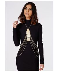 Missguided - Metallic Plate Detail Body Harness Gold - Lyst