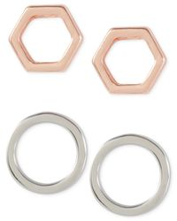 French Connection | Pink Two-tone Geometric Stud Earring Set | Lyst