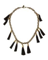Lela Rose - Black Tassel Chain Link Necklace - Lyst