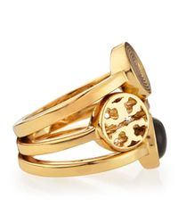 Tory Burch Livia Golden Stackable Rings Set Of 3 Black 7