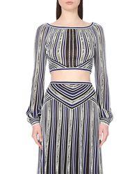 Roberto Cavalli - Blue Striped Cropped Stretch-knit Top - Lyst