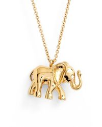 kate spade new york - Metallic Elephant Pendant Necklace - Lyst
