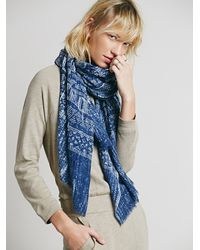 Free People Multicolor Tribal Painted Oversized Scarf