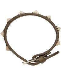 Valentino | Army Green Leather Rockstud Bracelet | Lyst