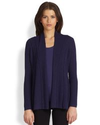 Eileen Fisher | Blue Washed Wool Open Front Cardigan | Lyst
