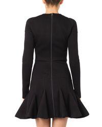 Antonio Berardi Black Sheer-Panel Kick-Pleat Skirt Dress