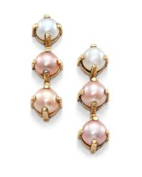 Aesa - Luxor 6Mm Lavender, Pink & White Freshwater Pearl Linear Earrings - Lyst
