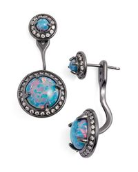 Kendra Scott | Metallic 'mystic Bazaar - Camilla' Drop Earrings - Gunmetal/ Turquoise Opal | Lyst