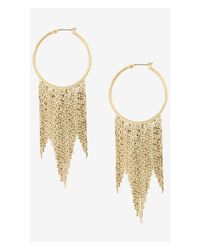 Express | Metallic Hoop Earrings With Fringe | Lyst