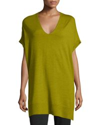 Eileen Fisher | Green Short-sleeve Merino Jersey Tunic | Lyst