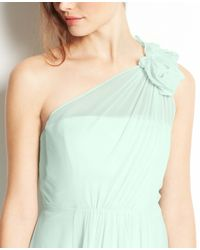 Ann Taylor | Green Silk Georgette Flower One Shoulder Dress | Lyst