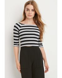 Forever 21 | Black Striped Rib Crop Top | Lyst