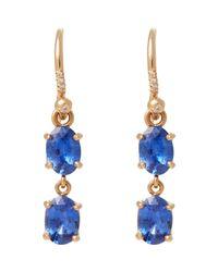 Irene Neuwirth - Blue Diamond, Ceylon Sapphire & Rose Gold Double Drop Earrin - Lyst