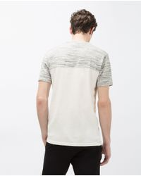 Zara   Gray Textured T-shirt for Men   Lyst