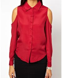 Glamorous | Red Shirt with Cold Shoulder | Lyst