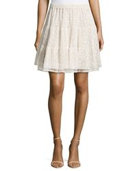 RED Valentino - Red Floral-Lace Ruffled Skirt - Lyst