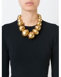 Monies | Yellow Metallic Ball Necklace | Lyst