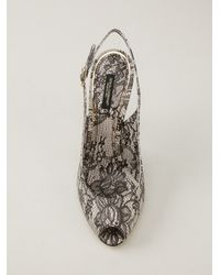 Dolce & Gabbana - Gray Lace Sling Back Pump - Lyst