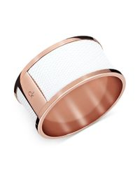 Calvin Klein | Metallic Rose Gold Pvd White Leather Bangle Bracelet | Lyst