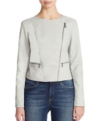Jessica Simpson - Gray Kennedy Faux Leather Jacket - Lyst