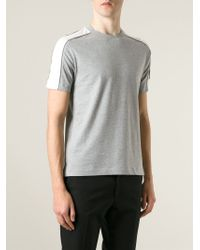 Moncler Gamme Bleu - Gray Logo Embroidered T-Shirt for Men - Lyst