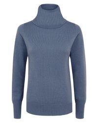Jaeger Blue Cashmere Cowl Neck Sweater