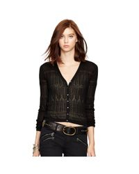 Polo Ralph Lauren Black Pointelle-knit Cotton Cardigan