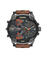 DIESEL - Brown Diesel 'mr. Daddy 2.0' Chronograph Leather Strap Watch for Men - Lyst