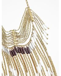 Free People - Metallic Chloe Long Beaded Fringe Necklace - Lyst