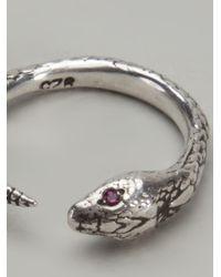Pamela Love - Metallic Ruby Eye Serpent Ring - Lyst