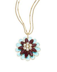 kate spade new york | Blue Bold Blooms Pendant Necklace | Lyst