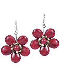 Aeravida - Cute Plain Red Coral Flower Brass .925 Silver Earrings - Lyst
