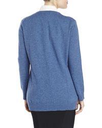 Qi | Blue V-Neck Cashmere Knit Boyfriend Cardigan | Lyst