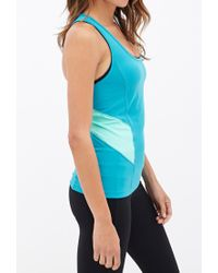 Forever 21 - Blue Active Mesh-paneled Performance Tank - Lyst