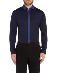 HUGO | Blue Edinburgh Contrast Plackett Slim Fit Shirt for Men | Lyst