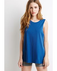 Forever 21 - Blue Boxy Muscle Tee - Lyst