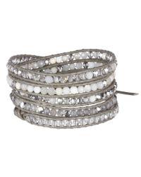 Chan Luu - Gray 32 Semiprecious Stone Mixnatural Leather Bracelet - Lyst