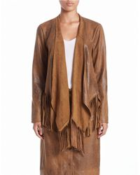 Lord & Taylor Brown Faux-suede Fringed Jacket