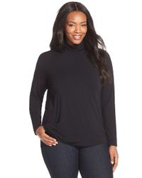 Sejour | Black Stretch Modal Turtleneck | Lyst