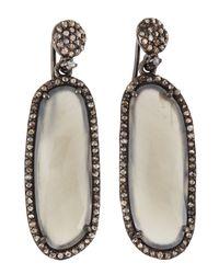 Bavna - Metallic Elongated Moonstone Diamond Drop Earrings - Lyst