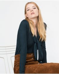 Zara | Blue Sweater With Tie Detail | Lyst