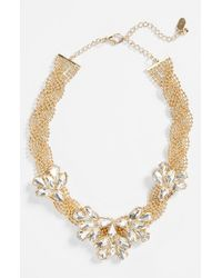 Natasha Couture | Metallic Braided Floral Crystal Necklace | Lyst