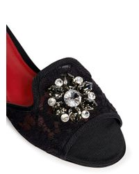 Dolce & Gabbana Black 'bianca R' Jewelled Lace Slippers