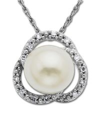 Lord & Taylor | Metallic Pearl Pendant With Diamonds In 14 Kt. White Gold | Lyst