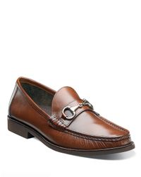 Florsheim Brown Tuscany Leather Bit Moc Loafers for men