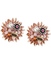 Betsey Johnson | Multicolor Rose Gold-Tone Woven Flower Button Stud Earrings | Lyst