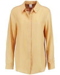 Iris & Ink Yellow Thea Silk Boyfriend Shirt